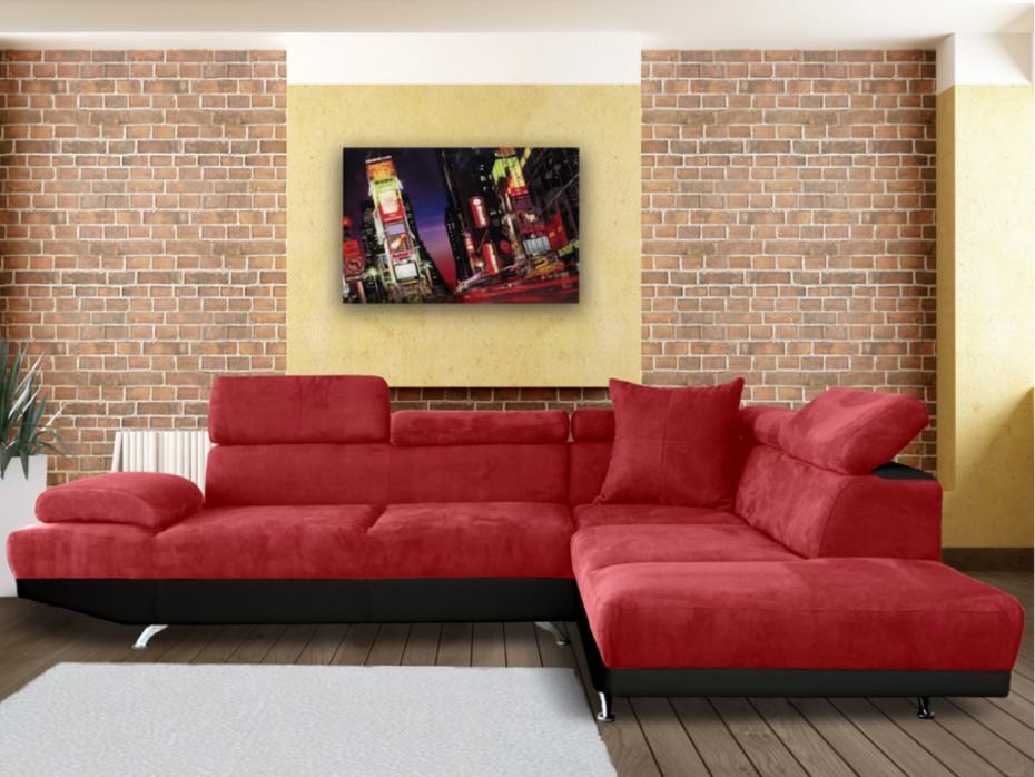 Assise De Canapé Canapé D Angle Xl En Tissu Romain Bicolore Rouge Et Noir