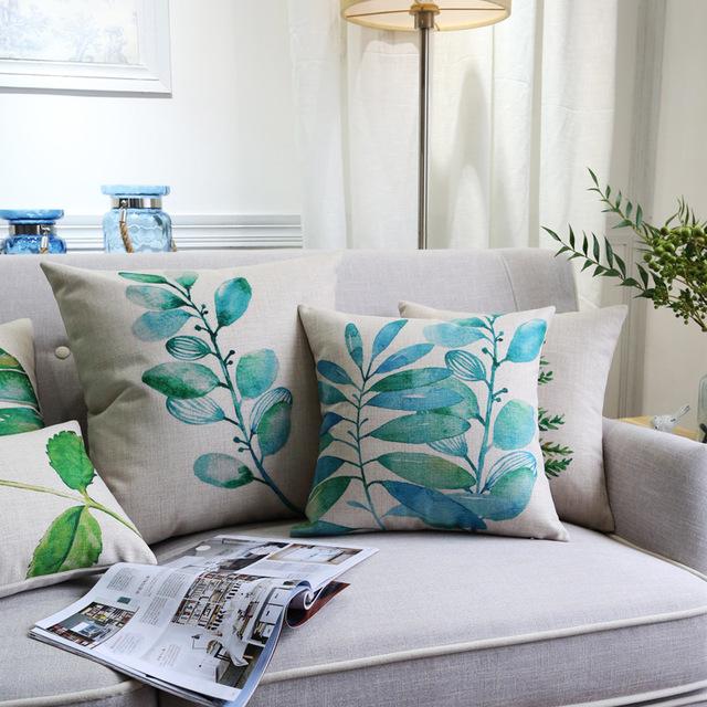 Décoratif coussin cas de couverture vert bleu plante coton