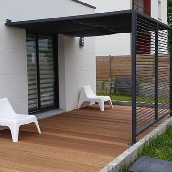 Lame de terrasse rainurée en bois exotique Angélique