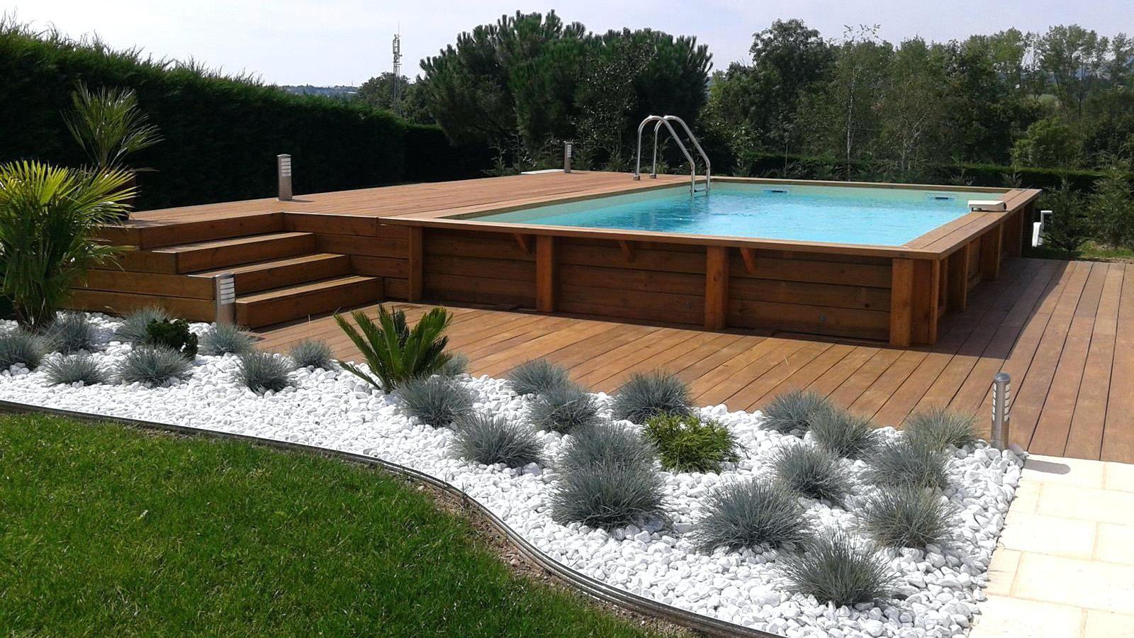 terrasse bois piscine hors sol et enterrace exemple