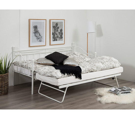 Lit banquette gigogne OLIVIA 2x90x190 cm blanc Lits BUT