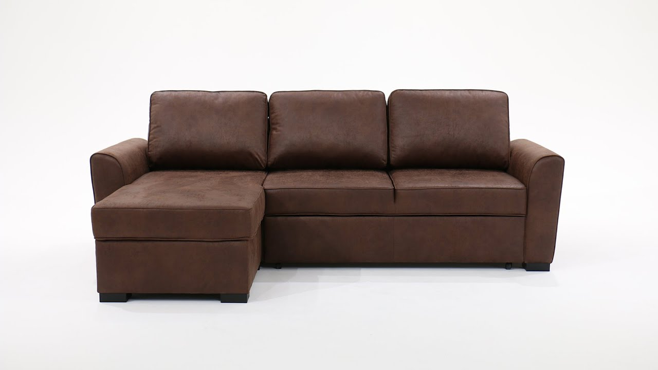 Canapé d angle 3 4 places convertible aspect cuir vieilli