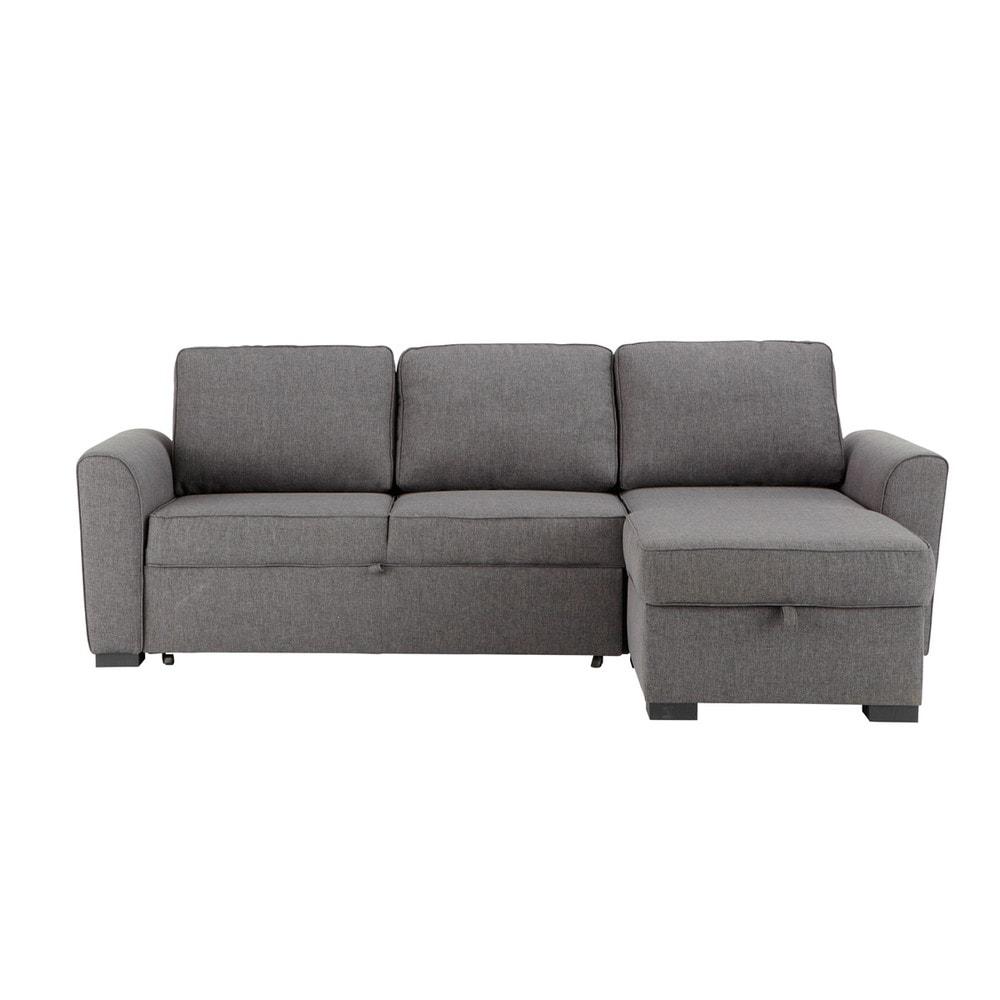 Canapé d angle convertible 3 4 places en tissu gris