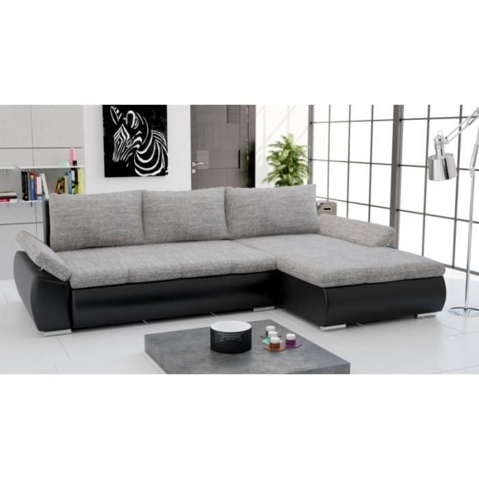 Canapé d angle convertible CARMEN gris et noir Achat