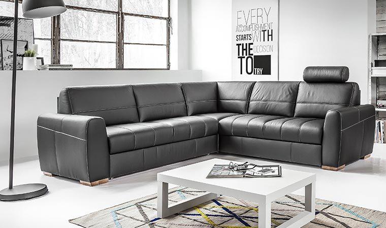 Canapé d angle convertible design en cuir 5 6 places