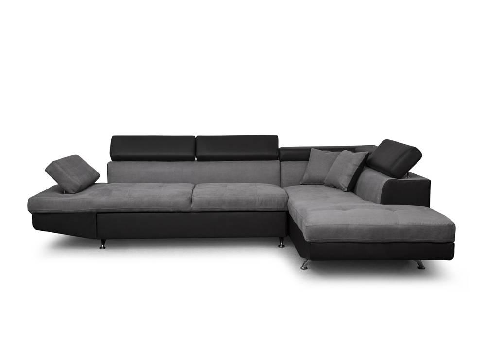 Canapé d Angle Droit Convertible avec coffre Noir Gris RIO