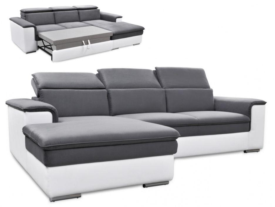 Canapé d angle convertible bimatière CONNOR Bicolore