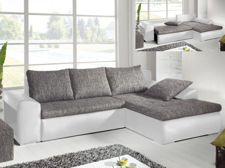 Canapé angle convertible simili tissu gris MISSISSIPPI