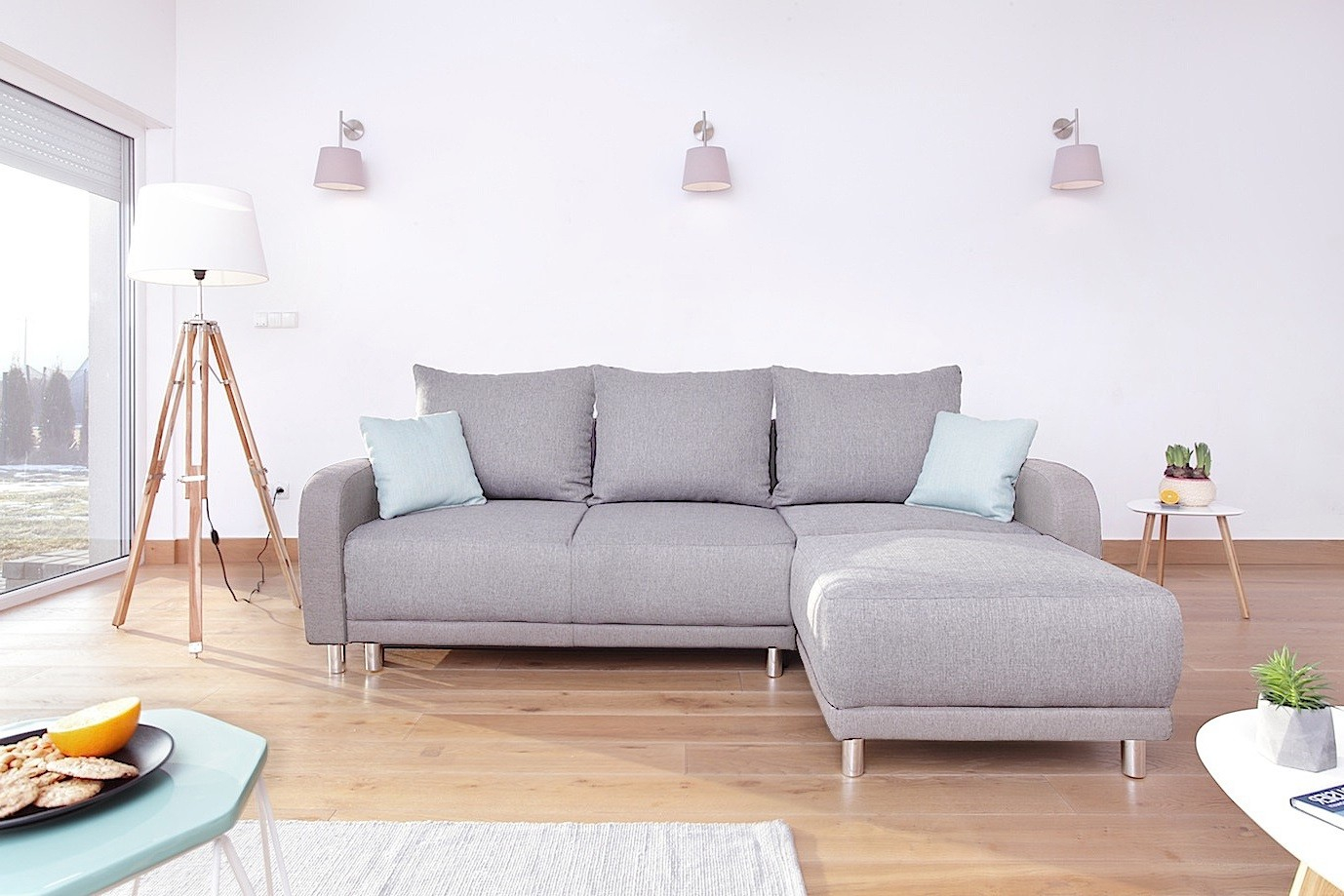Canapé d angle convertible scandinave gris clair Minty