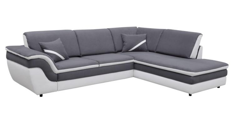 Canapé d angle droit convertible QUINN gris blanc Canapé