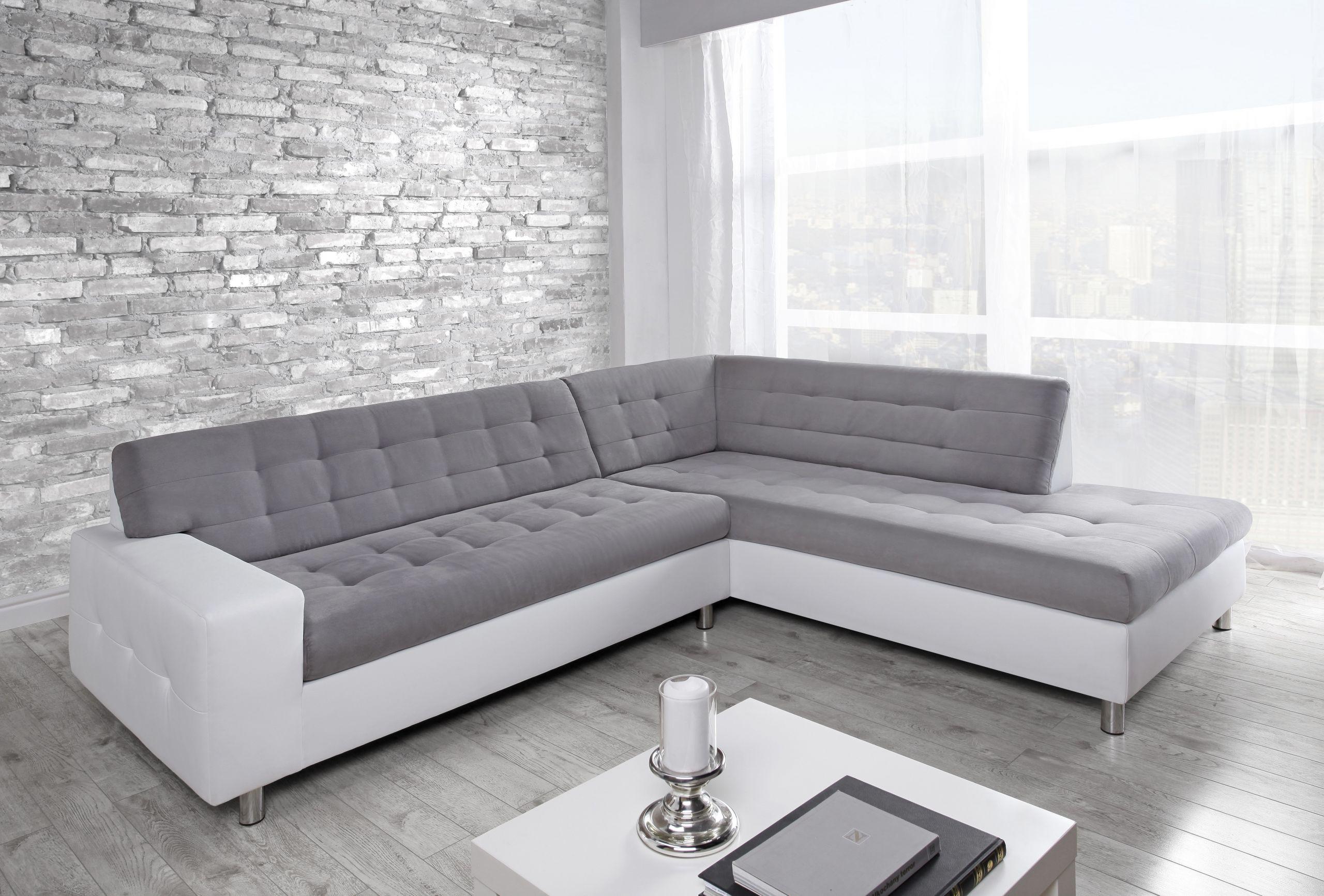 Canapé d angle droit Marko blanc et gris