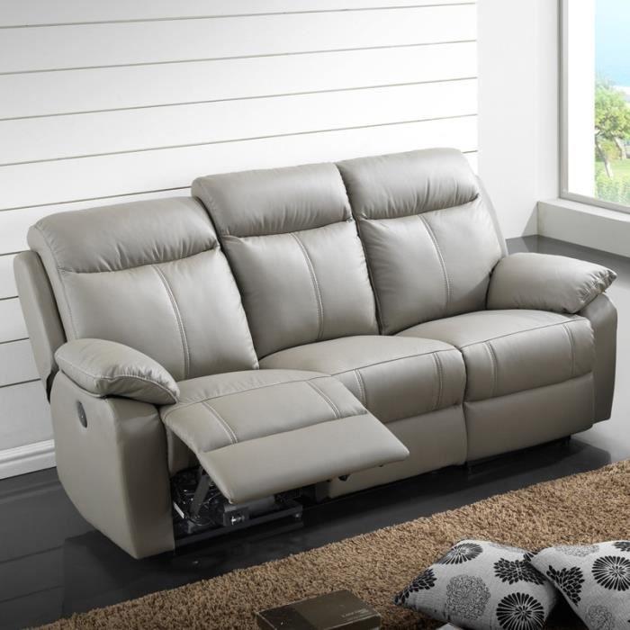 Canapé Relax électrique 3 places Cuir VYCTOIRE Achat