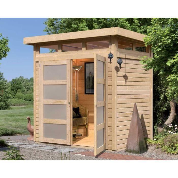 Abri de jardin à toit plat 3m² en bois massif 1… Achat