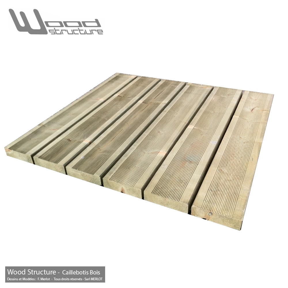 Caillebotis Bois pour Terrasse Prêt à poser Wood Structure
