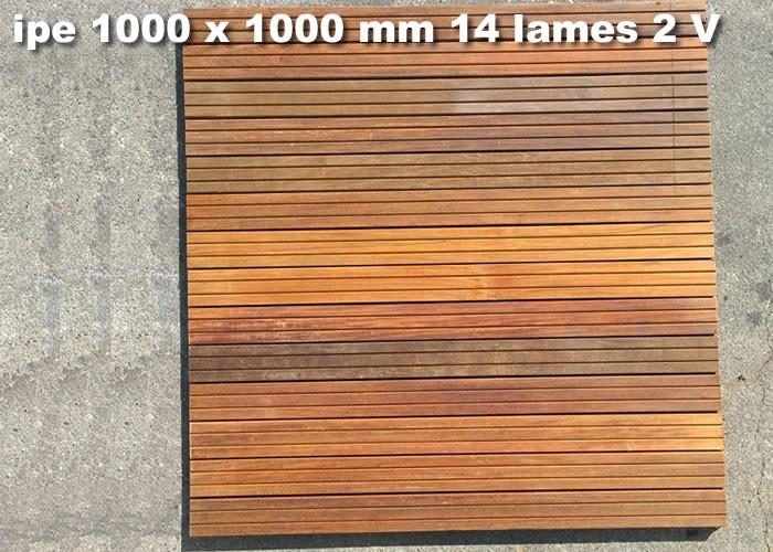 Dalle caillebotis en bois exotique IPE 1000 x 1000 x 38
