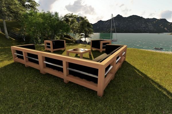 Salon de jardin en bois naturel Mailleraye jardin