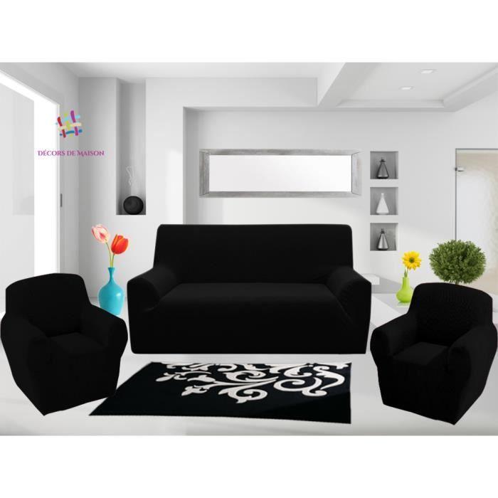 1 Housse de canapé 3 places 2 Housse de fauteuil NOIR