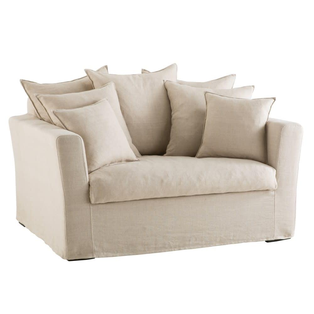 Canapé 1 2 places en lin beige Bartholomé