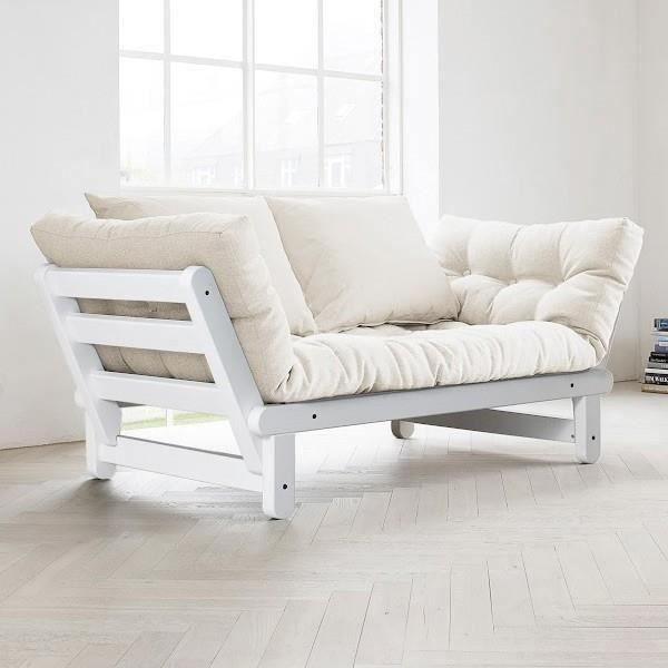 Convertible méri nne Beat Blanc futon Ecru Achat
