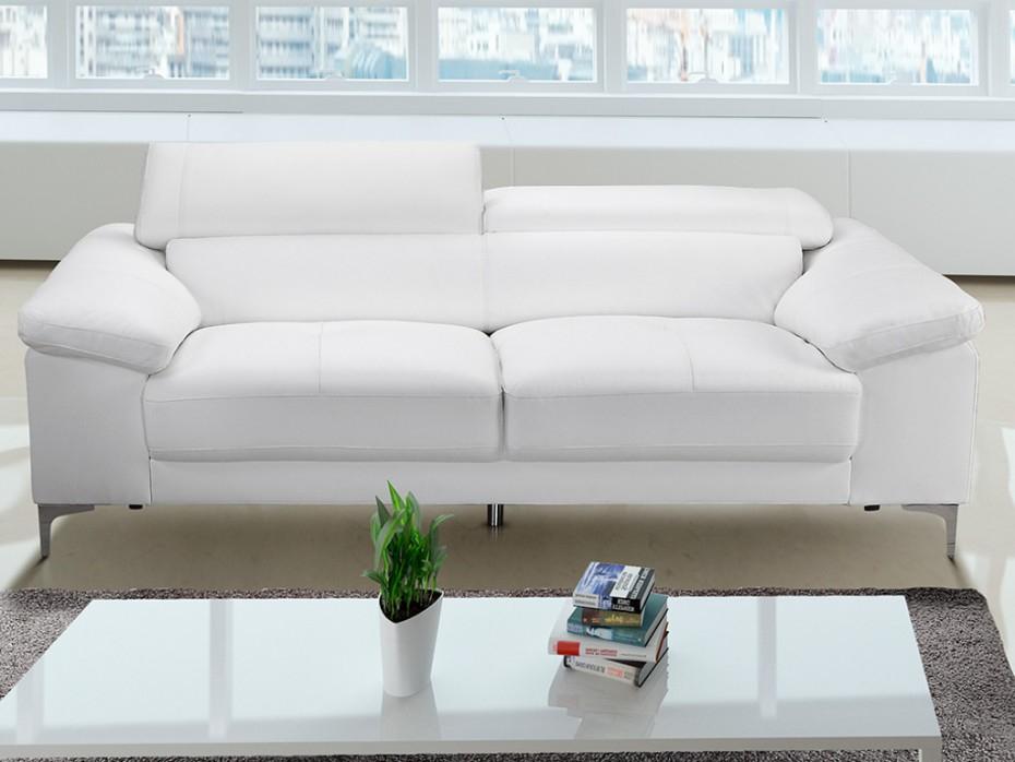 Canapé 2 places avec têtières en cuir blanc SOLANGE