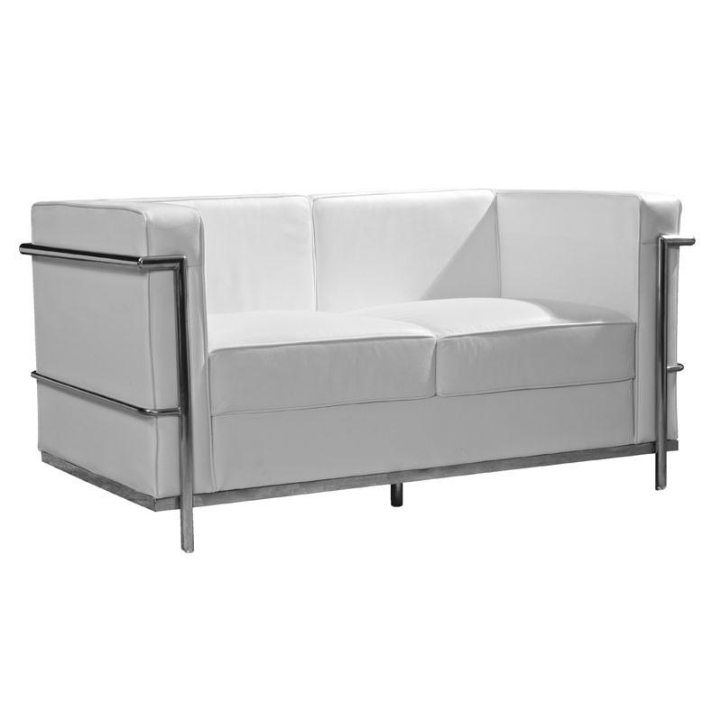 Canapé 2 places Cuir Blanc Inox Moderne Design CORBS