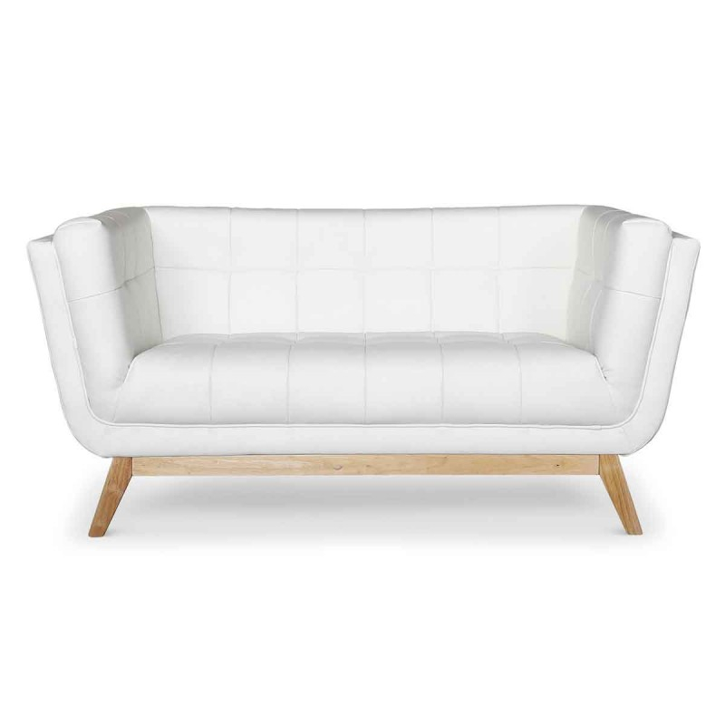 "Canapé 2 Places Scandinave ""Dakota"" 146cm Blanc"