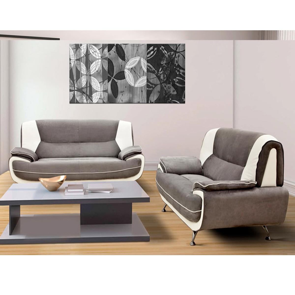 Canapé 3 places et 2 places PVC gris et blanc Palermo