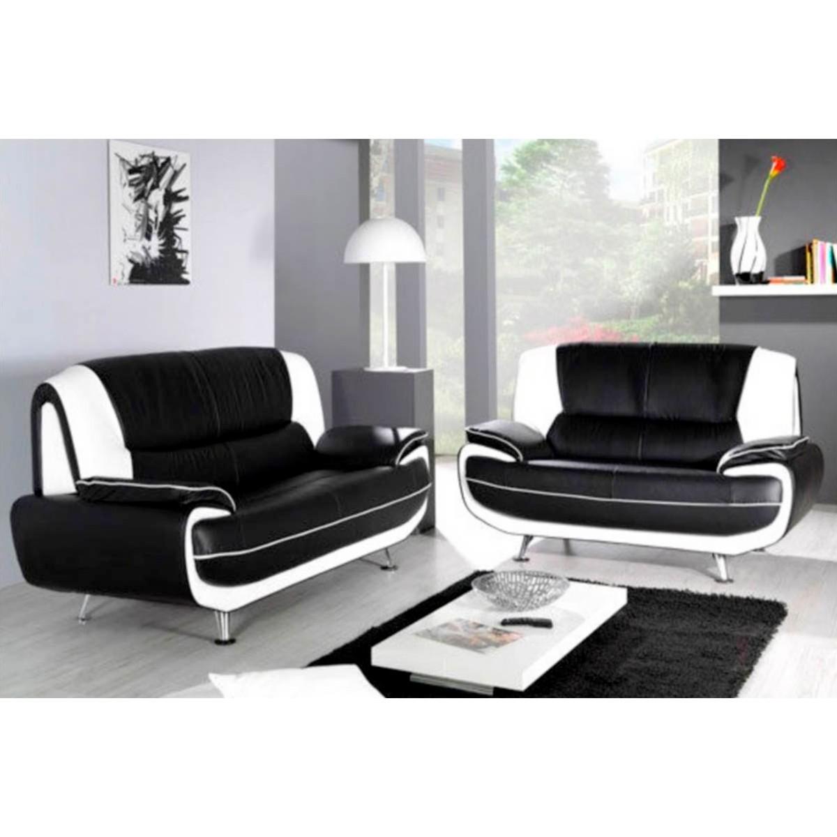 Canapé 3 places et 2 places PVC noir et blanc Palermo