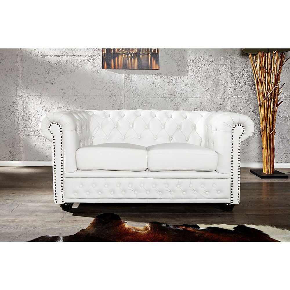 Canapé Chesterfield 2 places en pvc coloris blanc