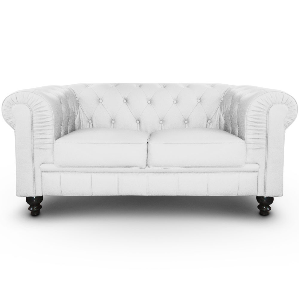 Canapé Chesterfield 2 Places Regency Blanc