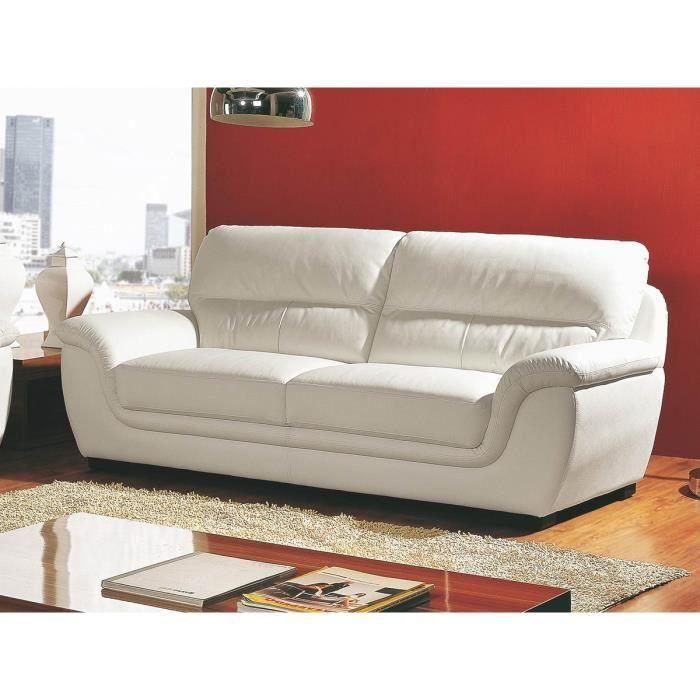 Canapé cuir 3 places blanc KALMIA Achat Vente canapé