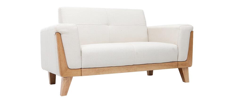 Canapé scandinave 2 places blanc pieds bois FJORD Miliboo