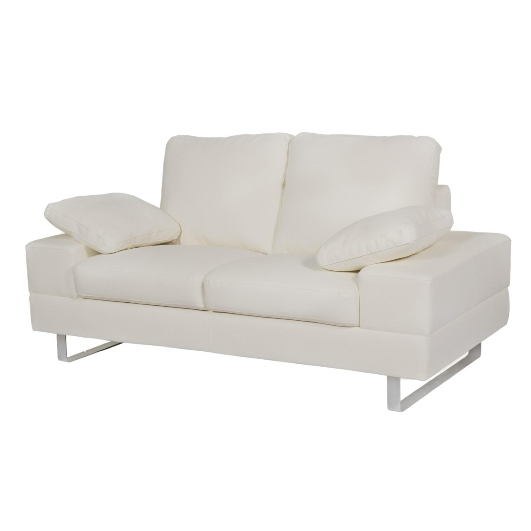 s canapé convertible cuir blanc 2 places