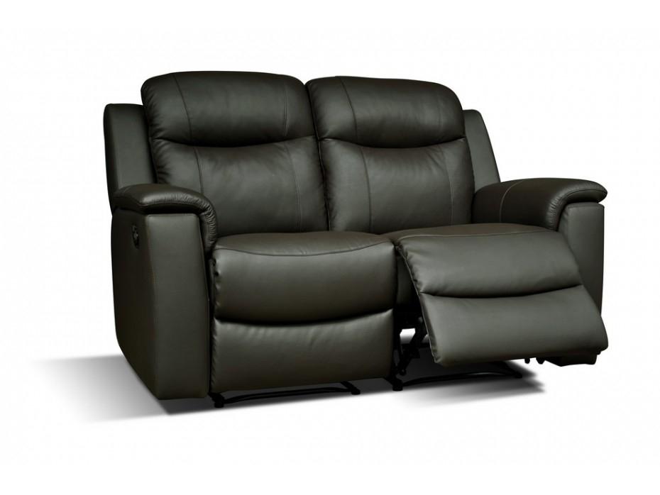 Canapé 2 places relax en cuir de vachette Noir EVASION