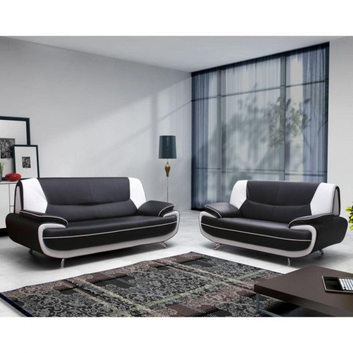 Canapé 2 places design en simili cuir noir et blanc design