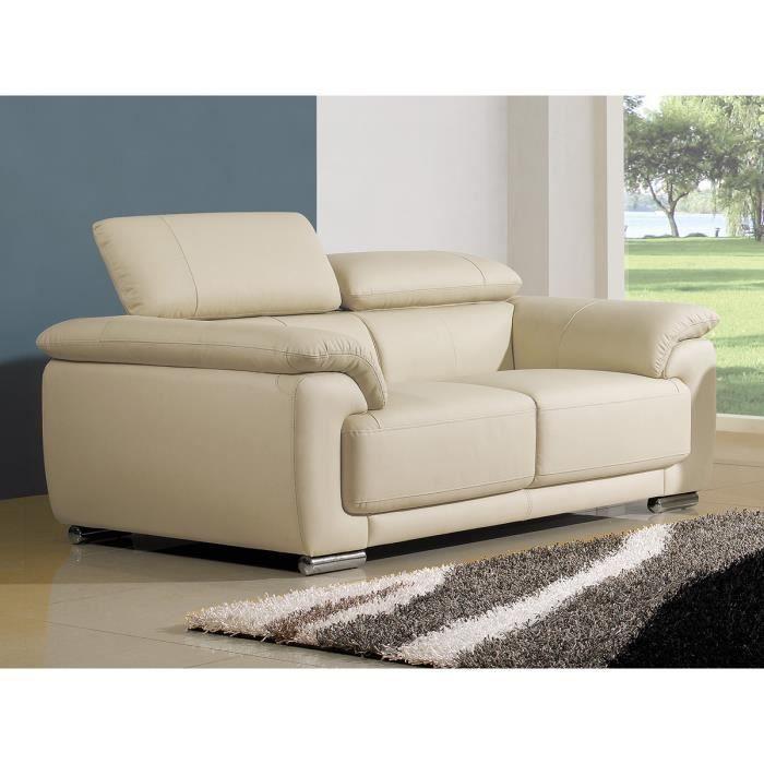 Canapé 2 places en cuir beige MARJORIE Achat Vente