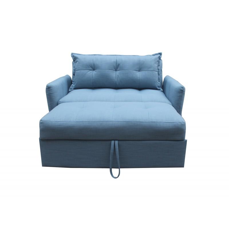 Canapé 2 places convertible en tissu bleu MONTREAL