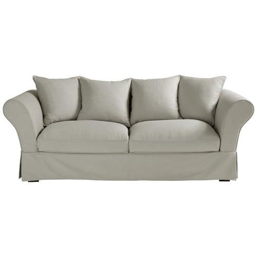 Canapé 3 4 places en coton gris clair Roma