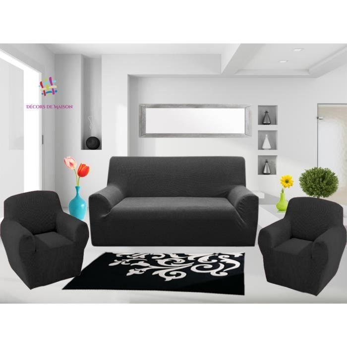 1 Housse de canapé 3 places 2 Housse de fauteuil GRIS