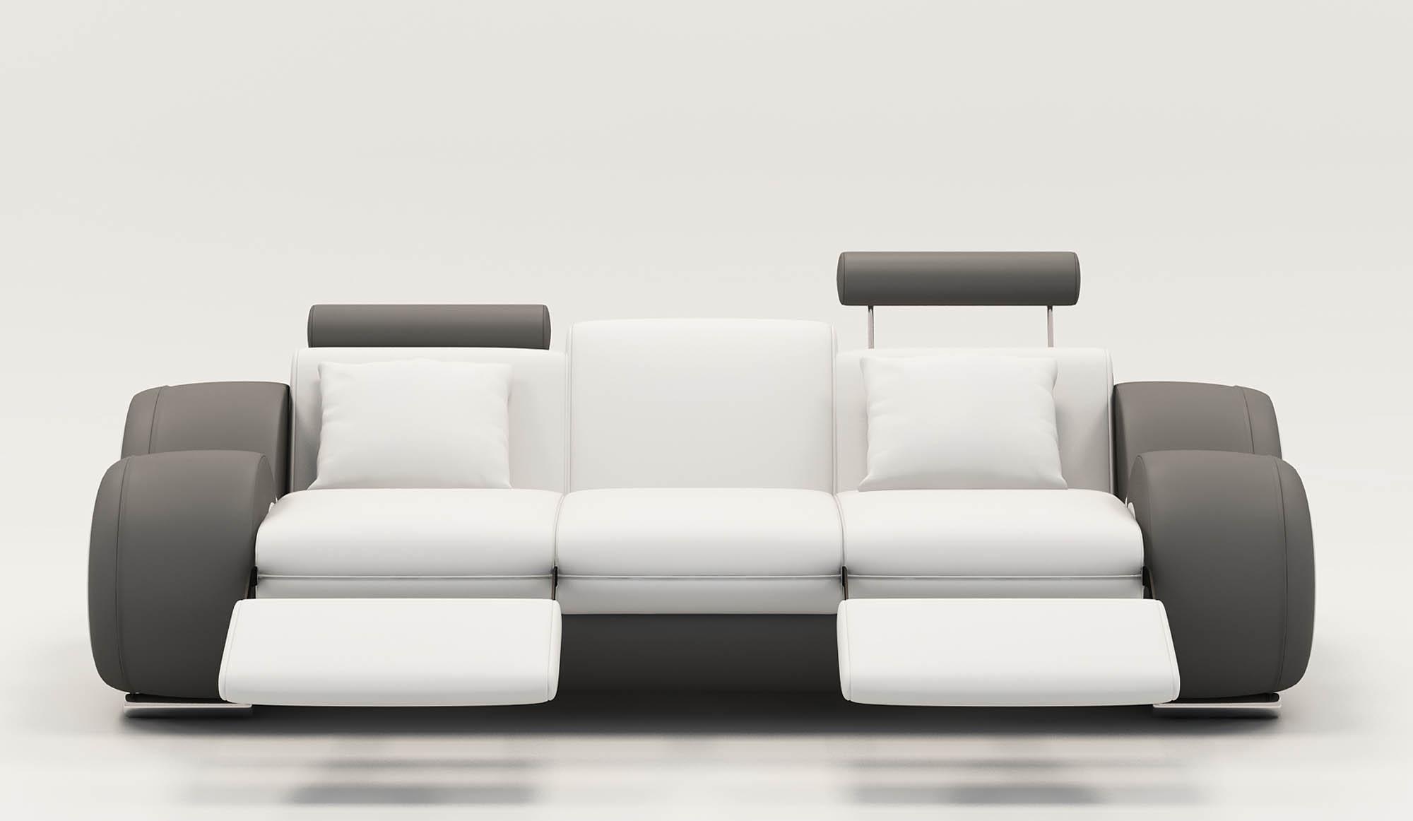 DECO IN PARIS 9 canape design 3 places cuir blanc et