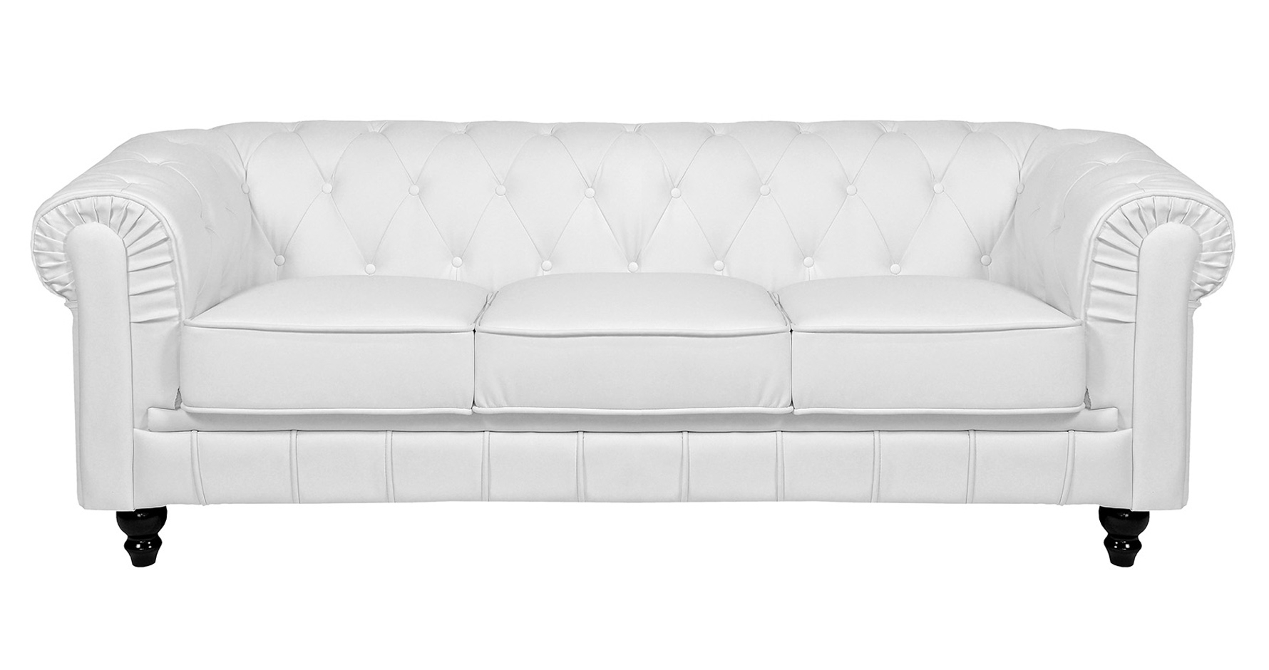DECO IN PARIS Canape 3 places blanc chesterfield can