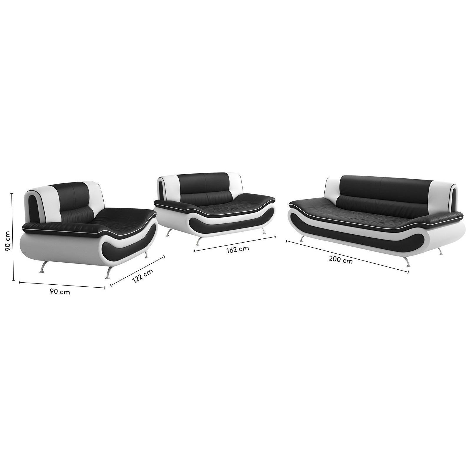 Salon Canapé 3 places design ROBINHOOD en simili cuir