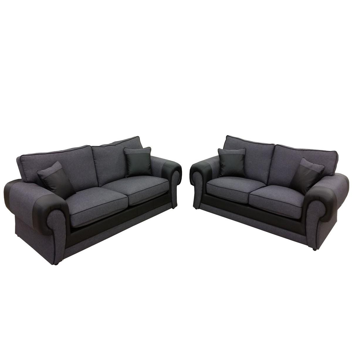 Canapé 3 places et canapé 2 places tissu gris et pvc noir
