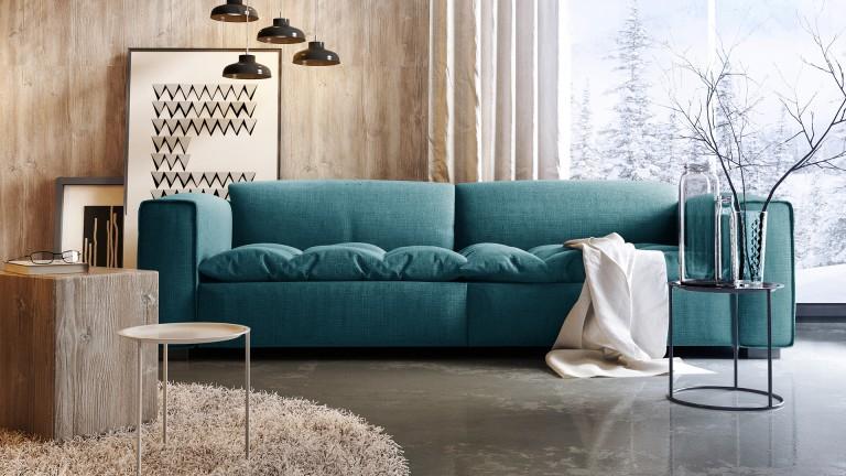 Canapé design 3 places avec assise tissu matelassée Storra