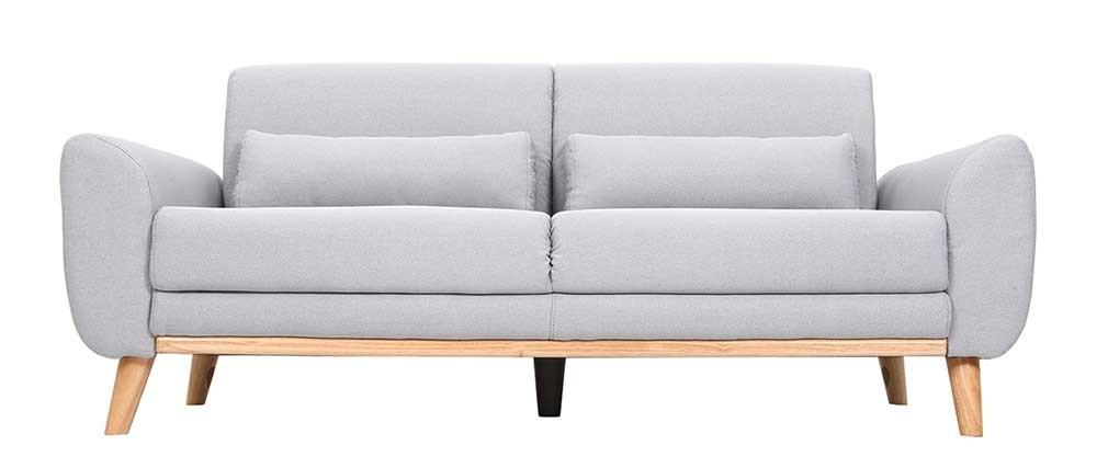 Canapé design 3 places en tissu gris clair et pieds chêne