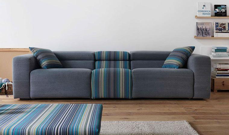 Canapé design 3 places en tissu gris et rayures Relax