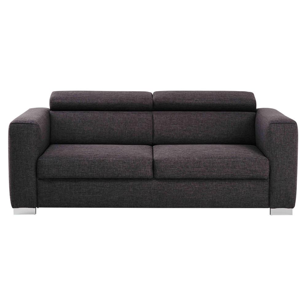 Canapé 3 places en tissu gris chiné Jazz