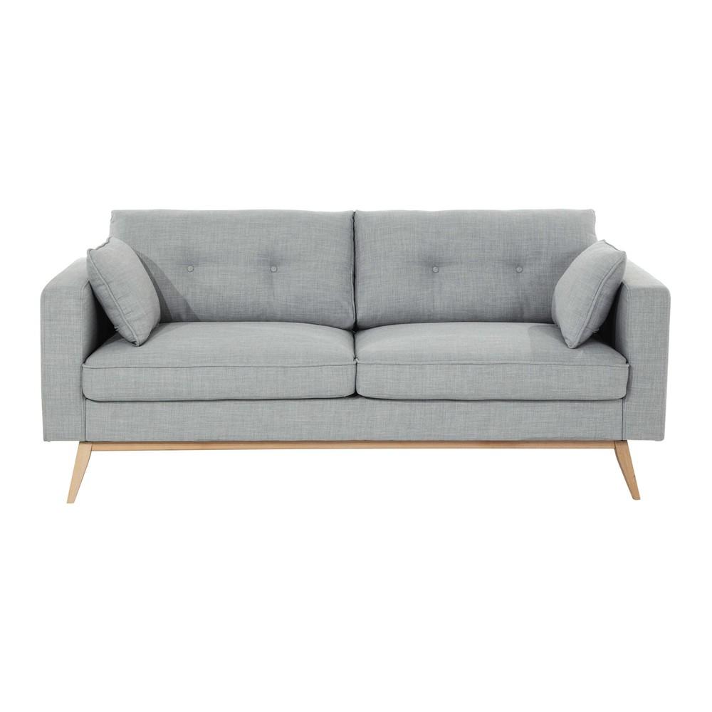 Canapé 3 places en tissu gris clair Brooke