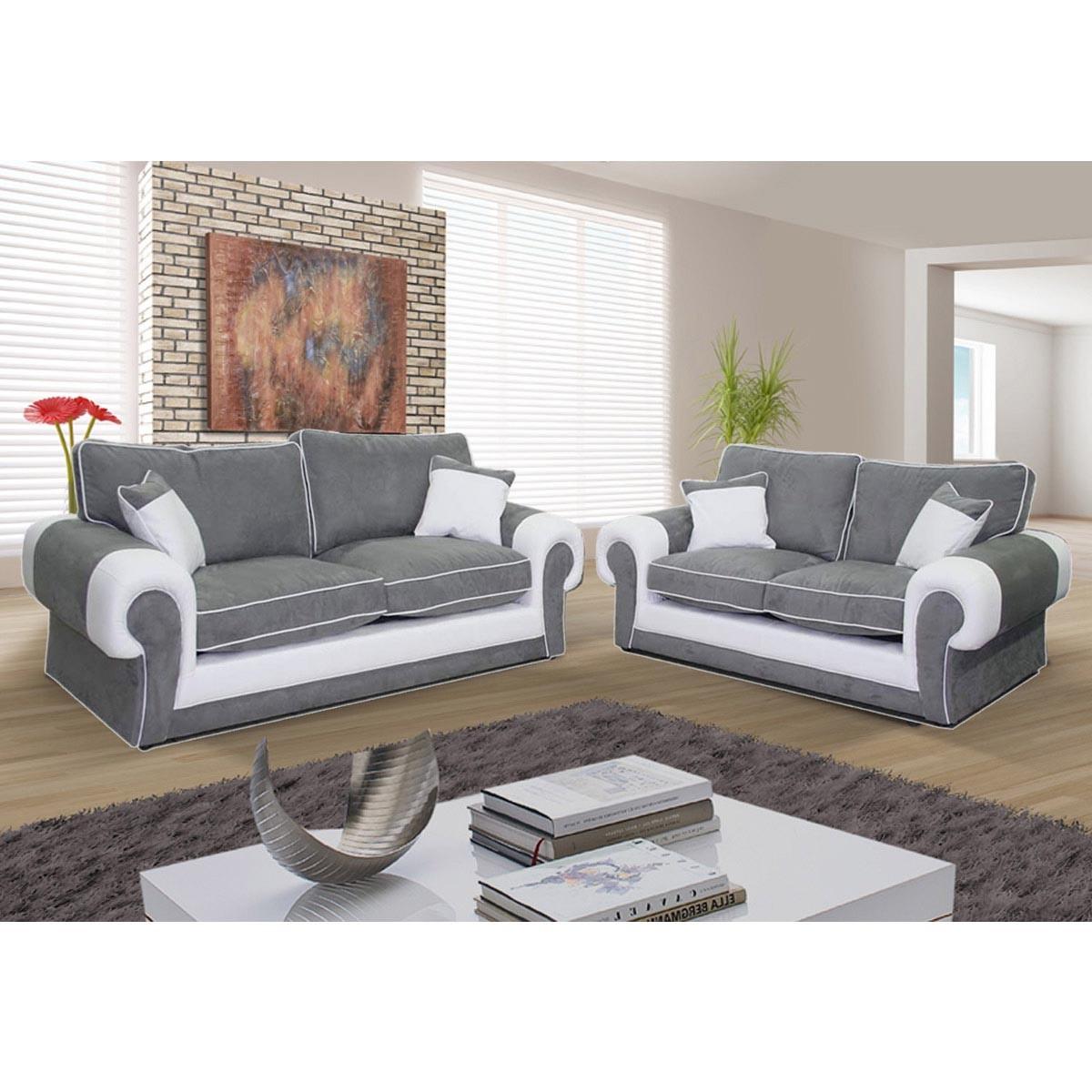 Canapé 3 places et canapé 2 places Nubuk gris pvc blanc