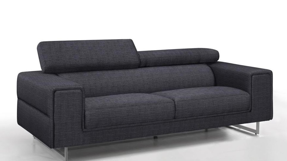 Canapé 3 places tissu design gris avec dossiers hauts gris